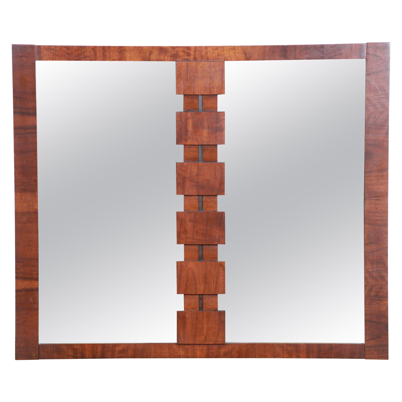 Paul Evans Style Mid-Century Modern Brutalist Walnut Double Mirror by Lane