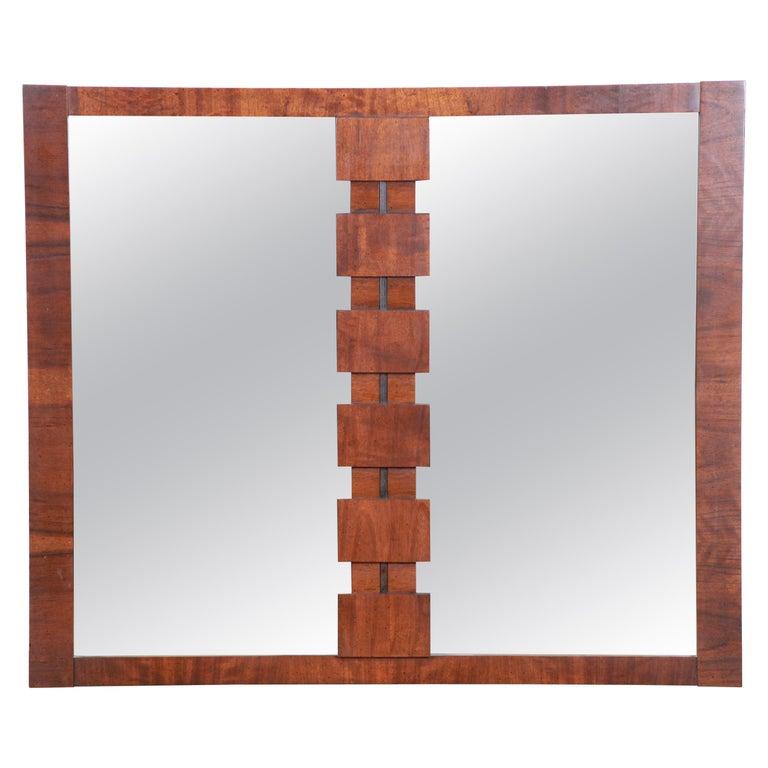 Paul Evans Style Mid-Century Modern Brutalist Walnut Double Mirror by Lane For Sale