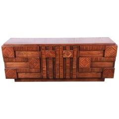 Paul Evans Style Mid-Century Modern Brutalist Walnut Dresser or Credenza by Lane