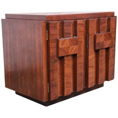 Paul Evans Style Mid-Century Modern Brutalist Walnut Nightstand by Lane