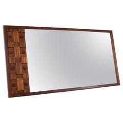 Paul Evans Style Midcentury Canadian Brutalist Walnut Full Length Mirror