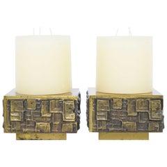 Paul Evans Style Pair of Brutalist Style Candleholders