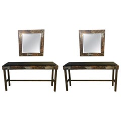 Paul Evans Style Patchwork Pair of Console Sofa Tables with Matching Mirrors