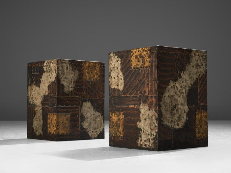 Post-Modern Pair Of Paul Evans Patchwork Cube Side Tables For Sale