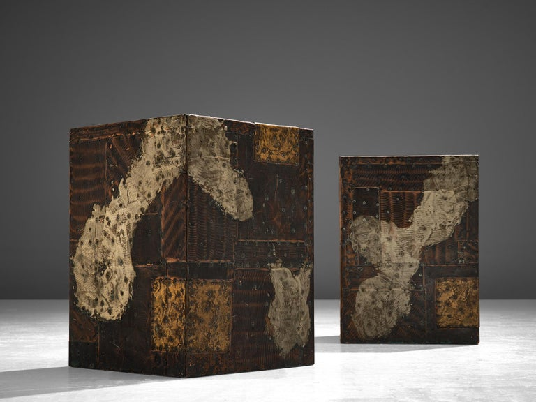 Pair Of Paul Evans Patchwork Cube Side Tables In Good Condition For Sale In Waalwijk, NL