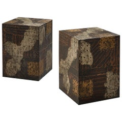 Pair Of Paul Evans Patchwork Cube Side Tables
