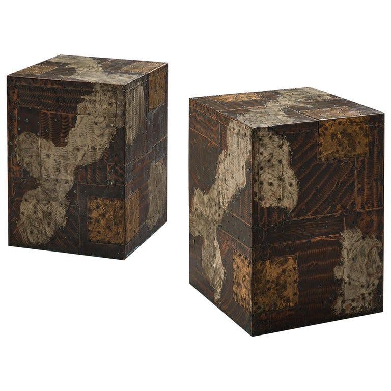 Pair Of Paul Evans Patchwork Cube Side Tables For Sale