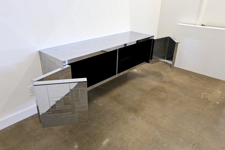 Plated Paul Evans Wall-Mounted Cityscape Cabinet For Sale