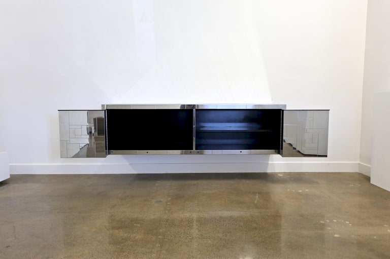 Steel Paul Evans Wall-Mounted Cityscape Cabinet For Sale