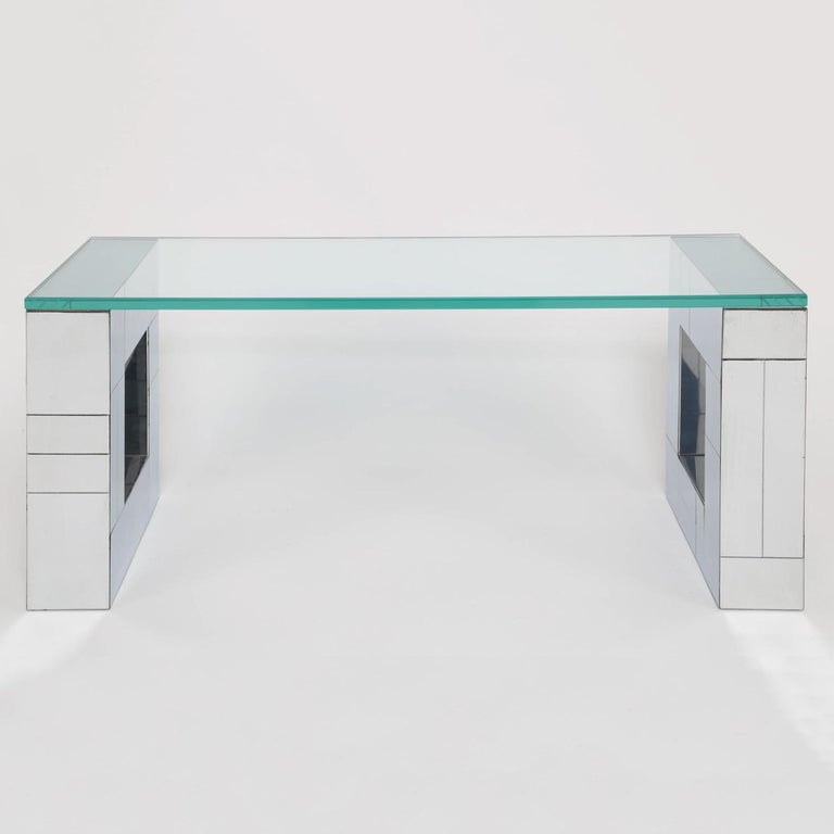 """Wall-mounted console table, supporting brackets in tessellated chrome with glass top, by Paul Evans, Cityscape Series, for Directional Furniture, American 1970s (signed """"Paul Evans"""")."""