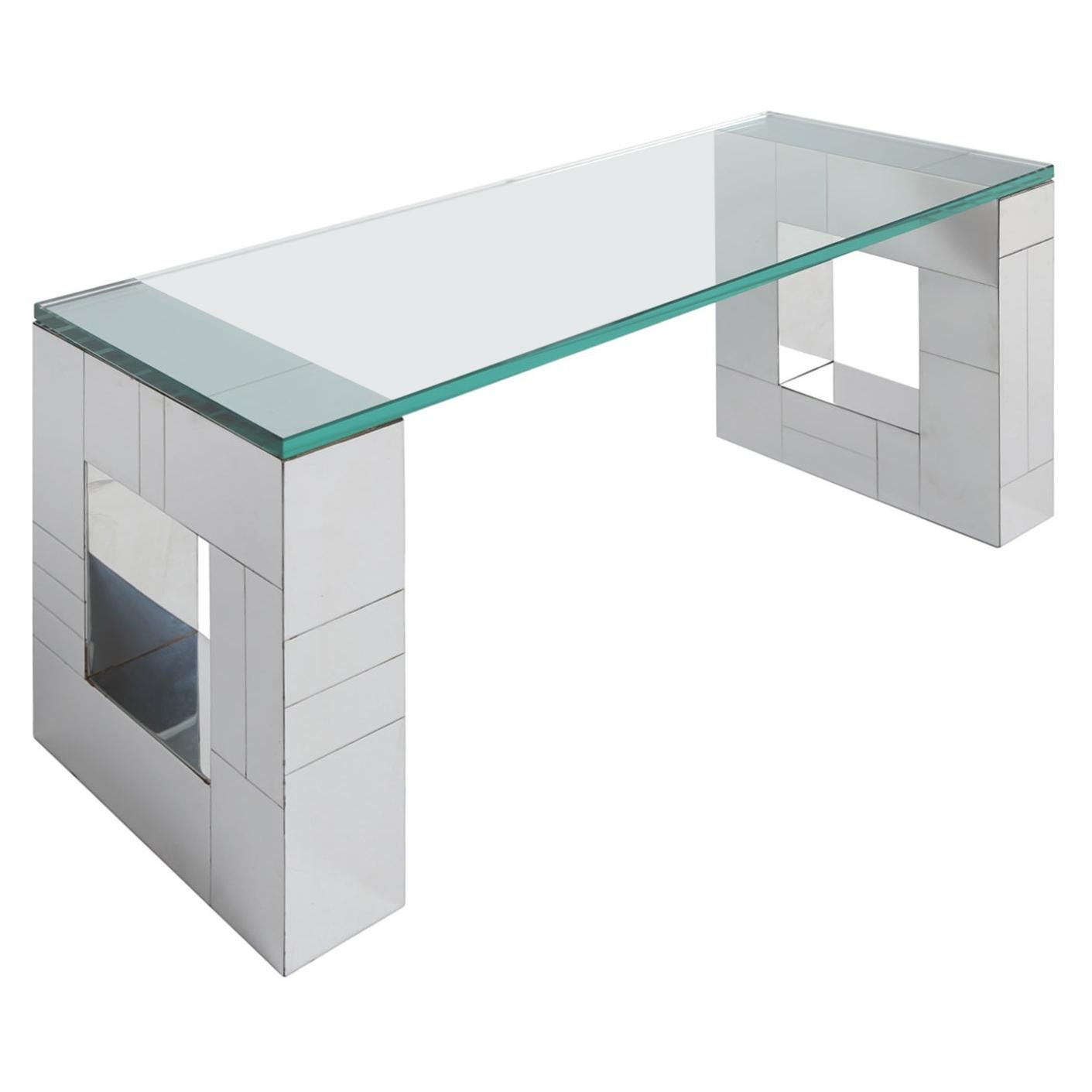 """Paul Evans Wall-Mounted """"Cityscape"""" Console in Tessellated Chrome 1970s 'Signed'"""