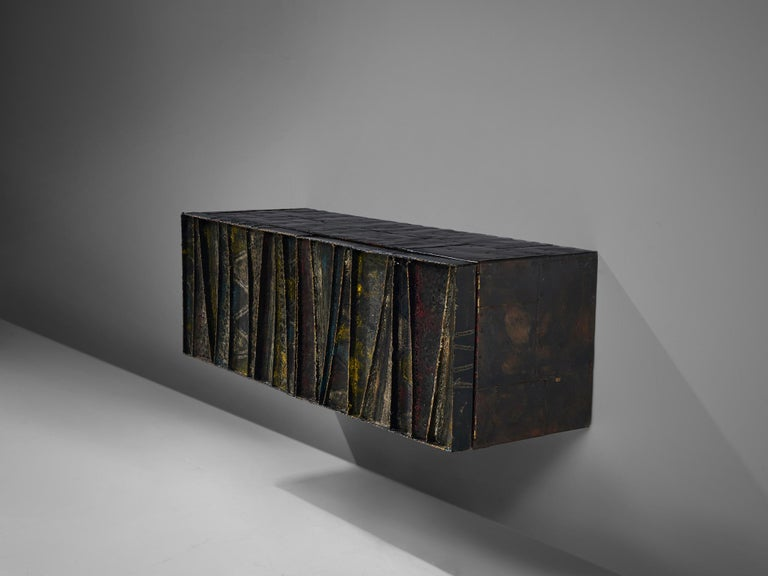 Mid-Century Modern Paul Evans Wall-Mounted Deep Relief Cabinet For Sale