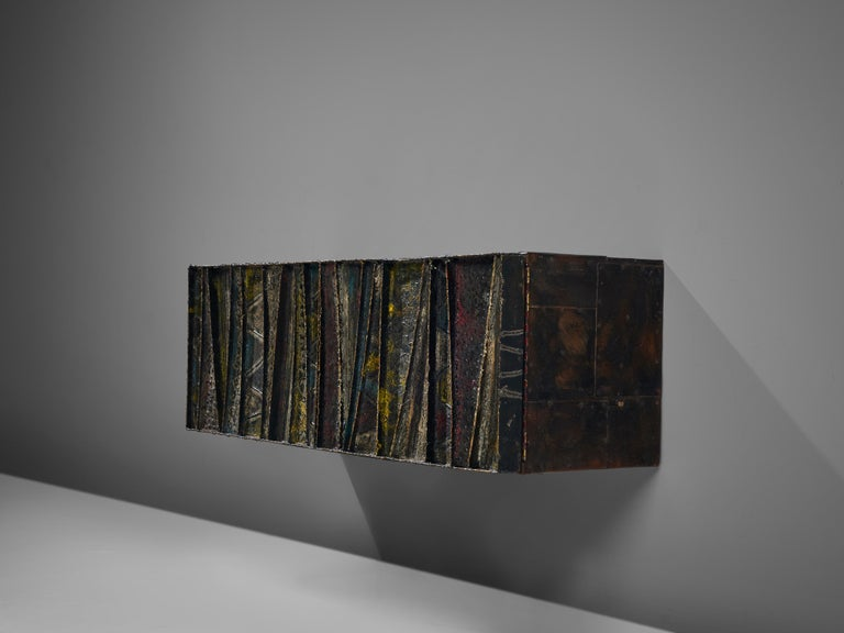 Late 20th Century Paul Evans Wall-Mounted Deep Relief Cabinet For Sale