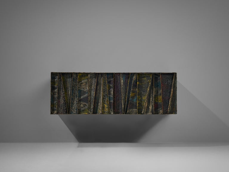 Paul Evans Wall-Mounted Deep Relief Cabinet For Sale 2