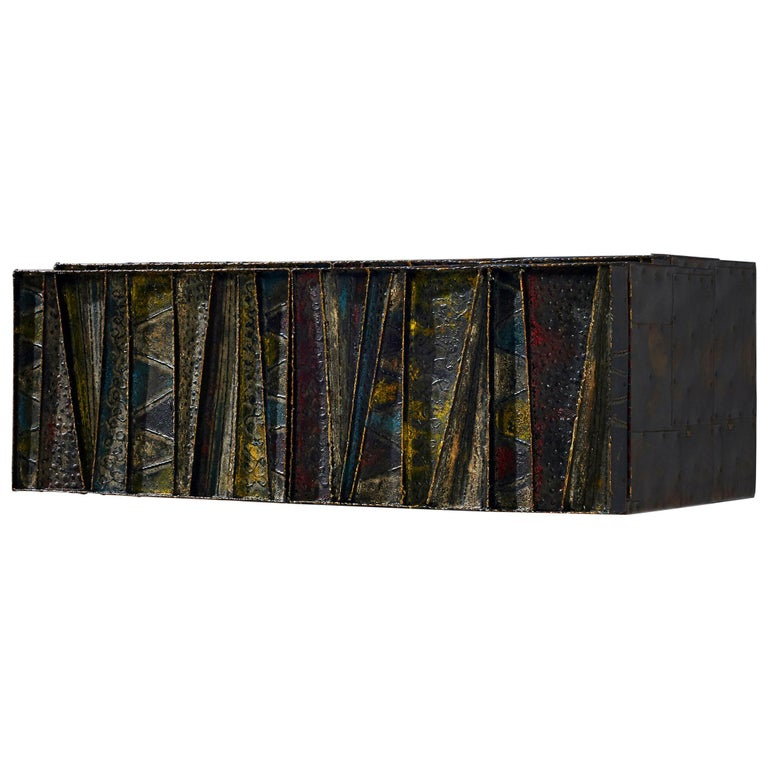 Paul Evans Wall-Mounted Deep Relief Cabinet For Sale