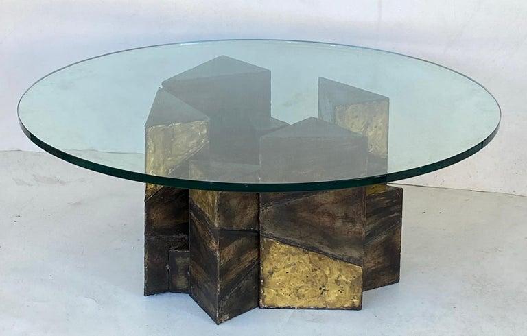 Cut Steel Paul Evans Welded Steel Brutalist Coffee Table Studio Made For Sale