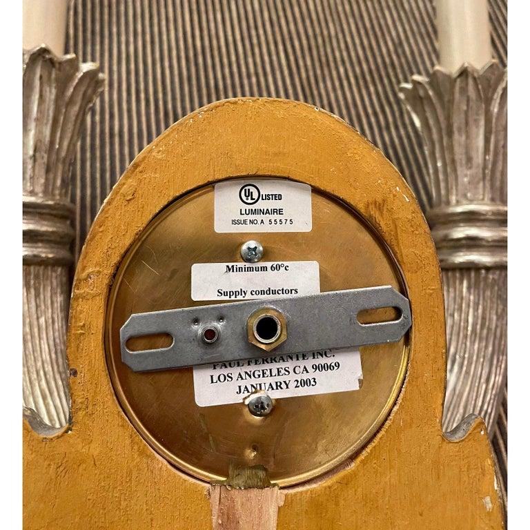 20th Century Paul Ferrante Art Deco Giltwood 2 Arm Wall Light Sconces, a Pair For Sale