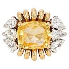 Paul Flato 1940s Yellow Sapphire and Diamond Cocktail Ring