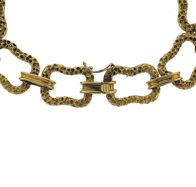 Long 18k gold link necklace, crafted by Paul Flato in circa 1970s. Necklace is 30