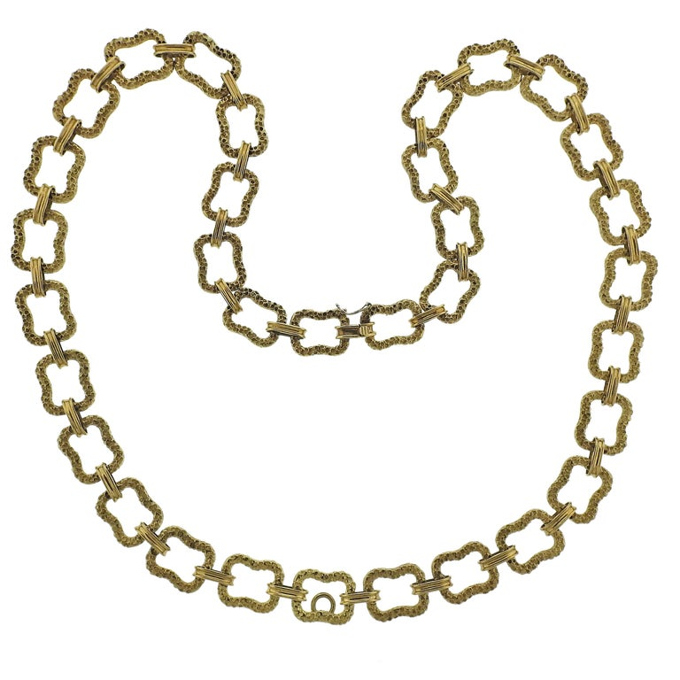 Paul Flato 1970s Gold Long Link Necklace For Sale