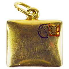 Paul Flato Attributed Yellow Gold Enamel Envelope Charm Pendant