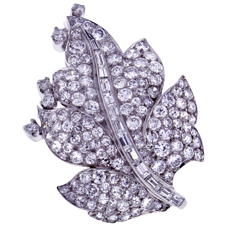 Paul Flato Diamond Leaf Brooch