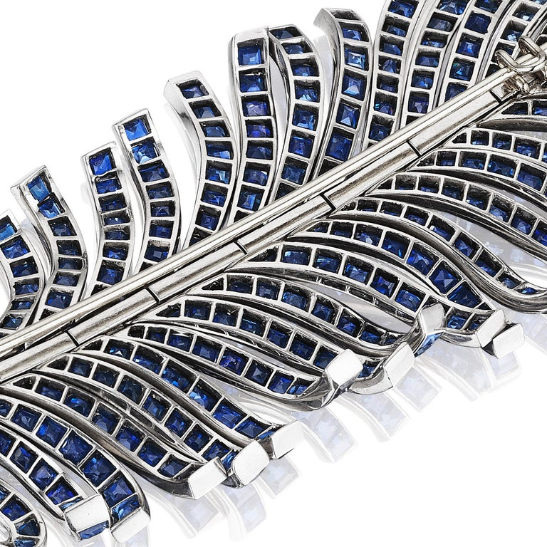 Mixed Cut Paul Flato Sapphire and Diamond Feather Brooch, New York, circa 1940 For Sale