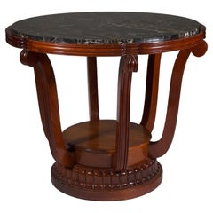 Paul Follot Center Table with Original Marble Top