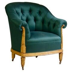 Paul Follot Pair of Gilt Sculpted Club Chairs
