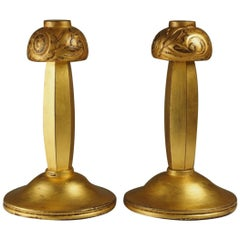 Paul Follot Pair of Small Gilt Bronze Table Lamps '#1586'