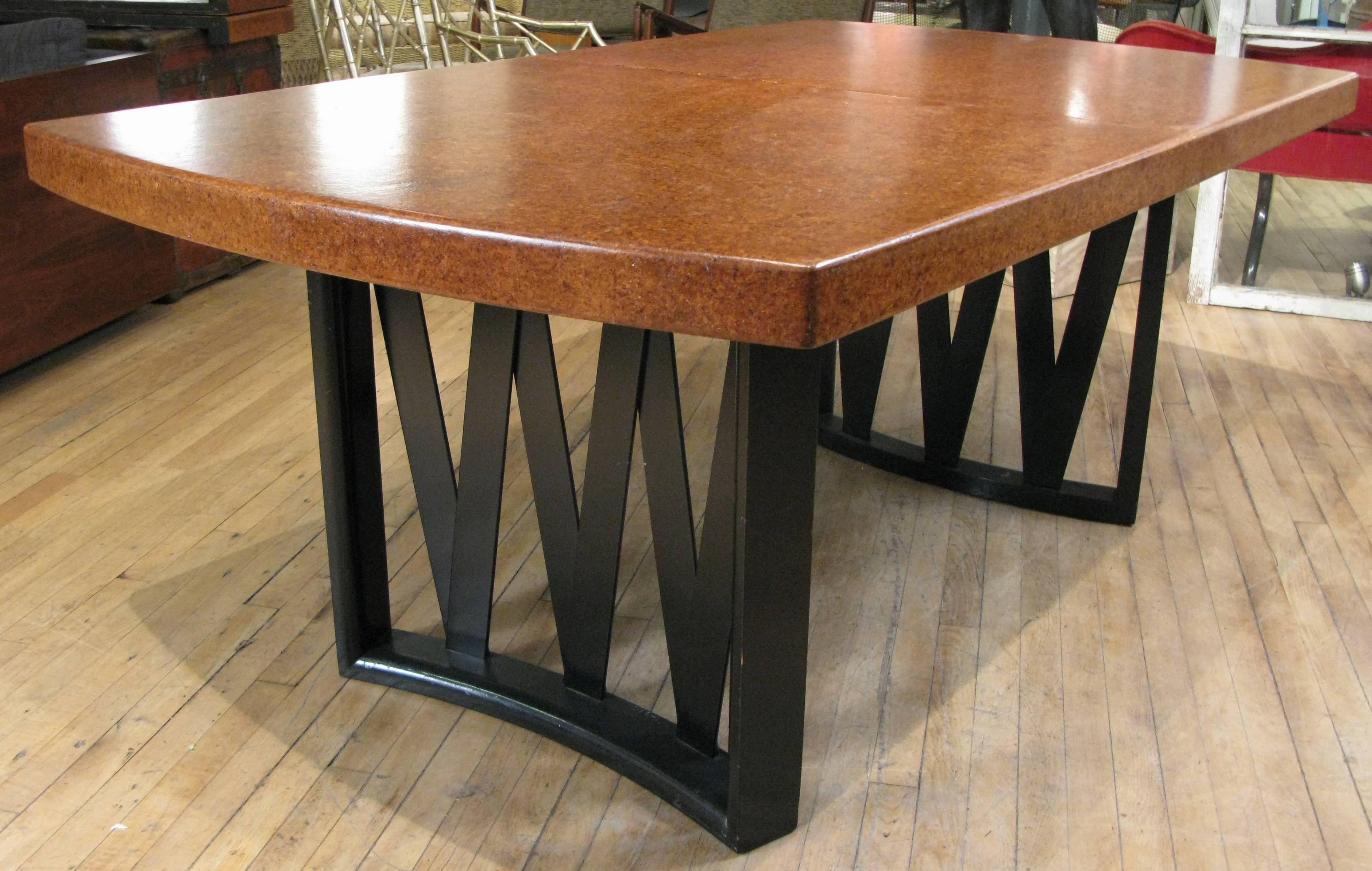 A Classic 1940s Extension Dining Table By Paul Frankl With Criss Cross  Curved Ebonized Mahogany
