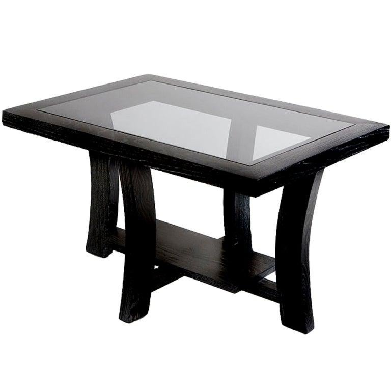 American Paul Frankl Black Stepped Side Table for Brown Saltman For Sale