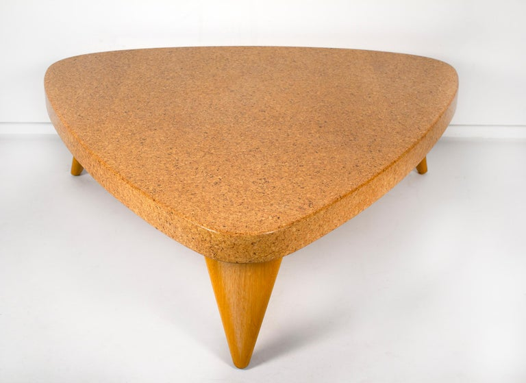 Mid-Century Modern Paul Frankl Bleached Mahogany and Waxed Cork Guitar Pick Coffee Table Model 5030 For Sale