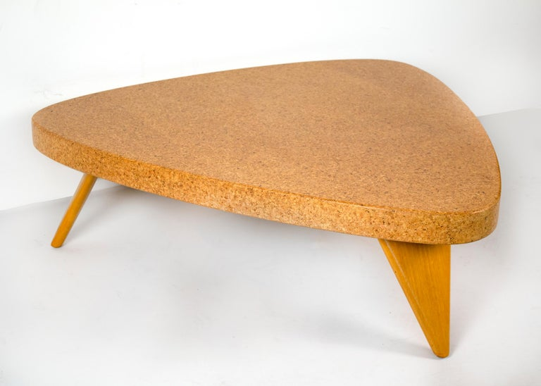 American Paul Frankl Bleached Mahogany and Waxed Cork Guitar Pick Coffee Table Model 5030 For Sale