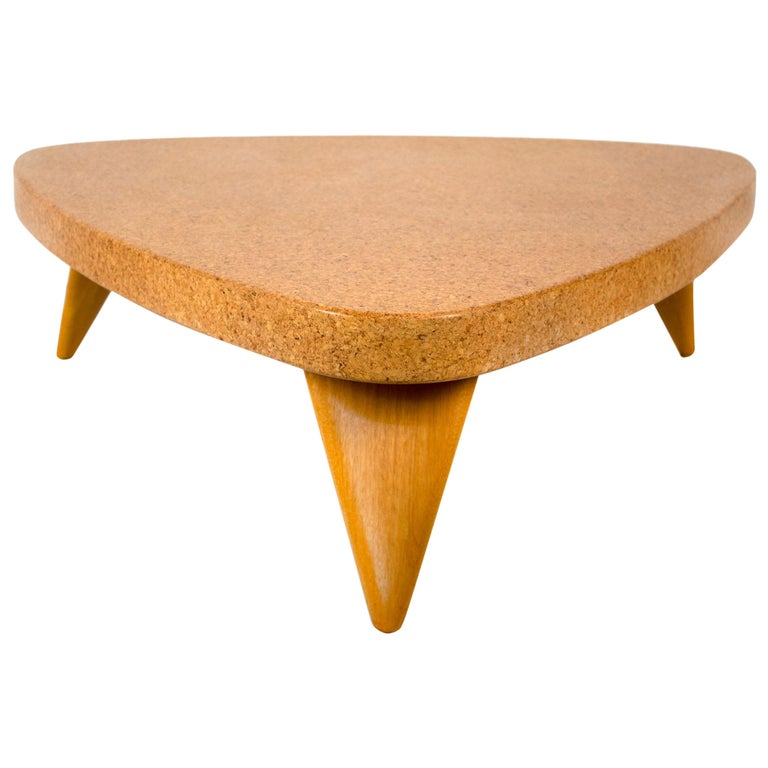 Paul Frankl Bleached Mahogany and Waxed Cork Guitar Pick Coffee Table Model 5030 For Sale