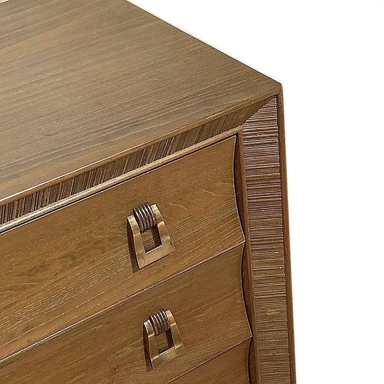 American Paul Frankl / Brown Saltman Cerused & Combed Oak w. Brass Pulls 8 Drawer Dresser For Sale