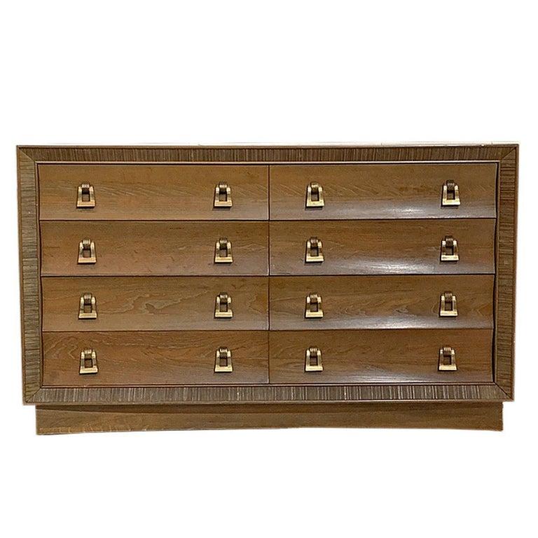 Paul Frankl / Brown Saltman Cerused & Combed Oak w. Brass Pulls 8 Drawer Dresser For Sale
