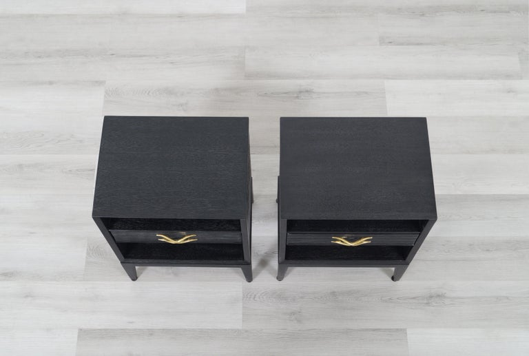 Paul Frankl Cerused and Brass Nightstands for Brown Saltman For Sale 7