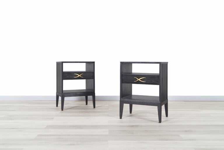 Mid-Century Modern Paul Frankl Cerused and Brass Nightstands for Brown Saltman For Sale