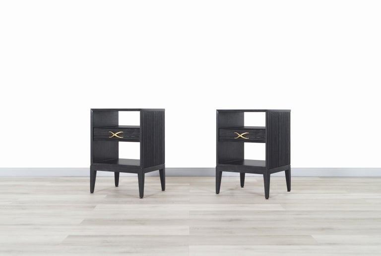 American Paul Frankl Cerused and Brass Nightstands for Brown Saltman For Sale