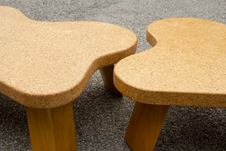 Paul Frankl Cloud Coffee Tables in Natural Cork and Bleached Mahogany -Pair 1951 For Sale 3