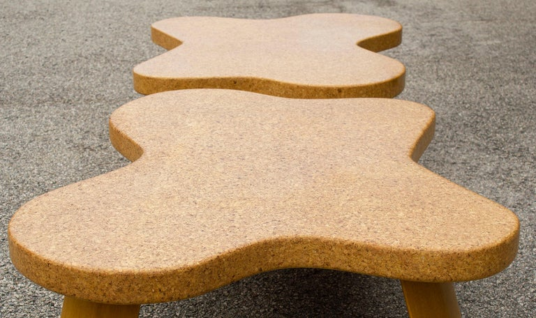 Paul Frankl Cloud Coffee Tables in Natural Cork and Bleached Mahogany -Pair 1951 For Sale 4