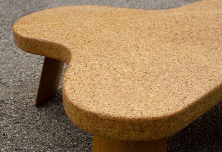 Paul Frankl Cloud Coffee Tables in Natural Cork and Bleached Mahogany -Pair 1951 For Sale 5