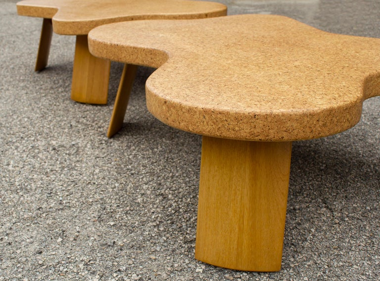 Paul Frankl Cloud Coffee Tables in Natural Cork and Bleached Mahogany -Pair 1951 For Sale 6