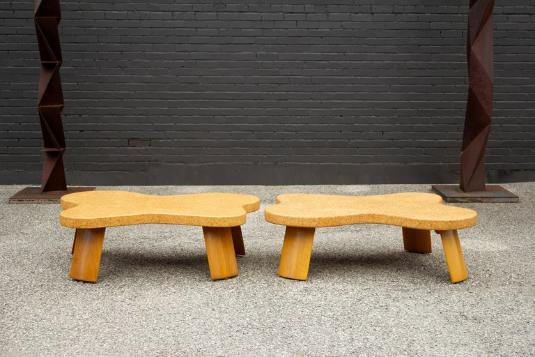Paul Frankl Cloud Coffee Tables in Natural Cork and Bleached Mahogany -Pair 1951 For Sale 10