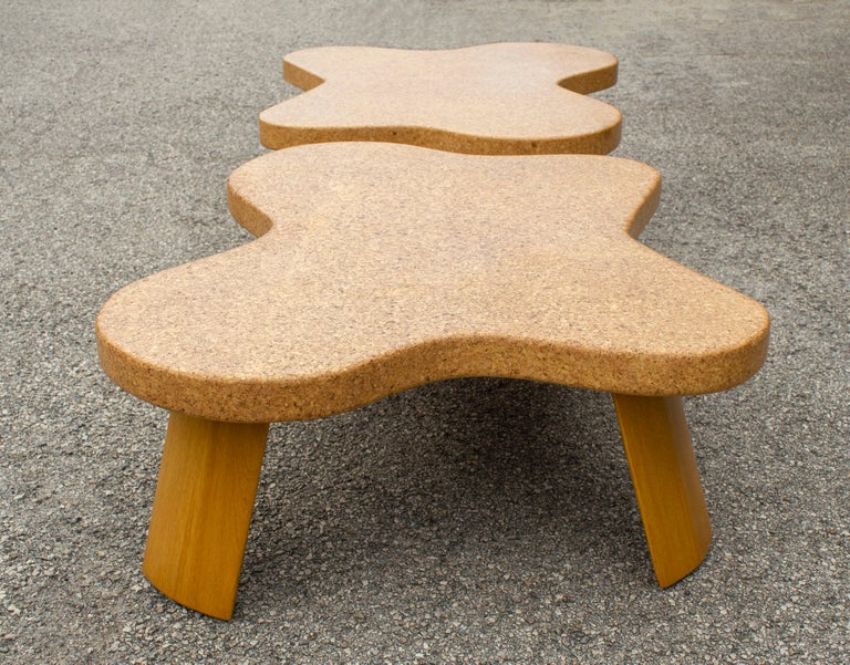 Mid-Century Modern Paul Frankl Cloud Coffee Tables in Natural Cork and Bleached Mahogany -Pair 1951 For Sale