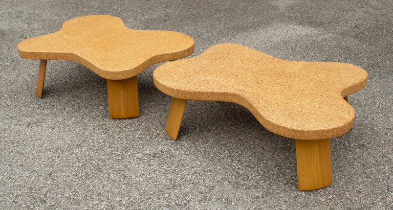 American Paul Frankl Cloud Coffee Tables in Natural Cork and Bleached Mahogany -Pair 1951 For Sale