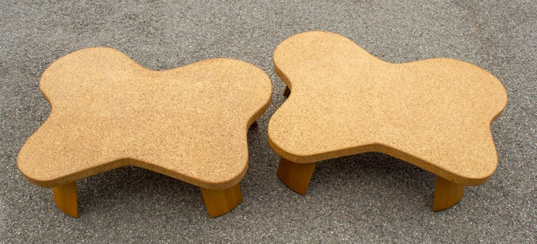 Paul Frankl Cloud Coffee Tables in Natural Cork and Bleached Mahogany -Pair 1951 In Good Condition For Sale In Dallas, TX
