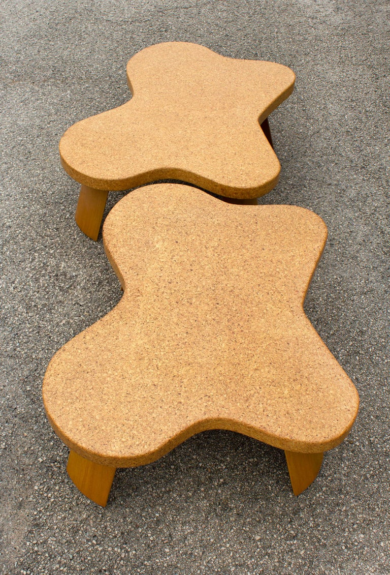 20th Century Paul Frankl Cloud Coffee Tables in Natural Cork and Bleached Mahogany -Pair 1951 For Sale