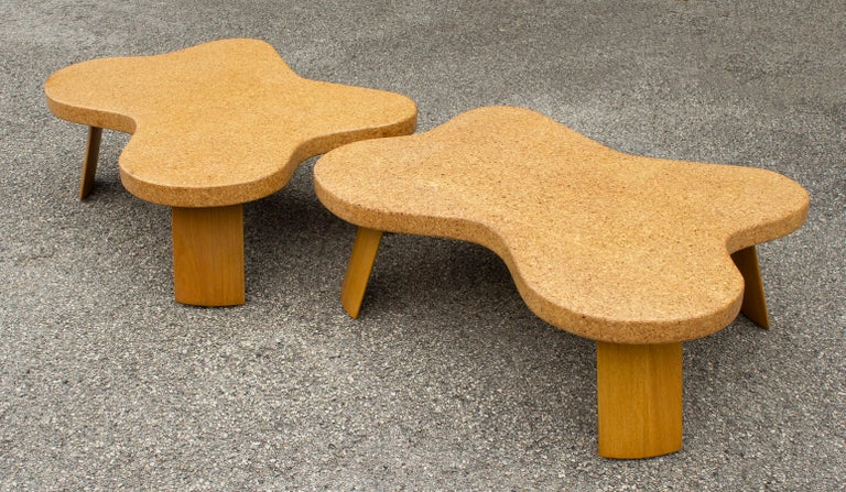 Wood Paul Frankl Cloud Coffee Tables in Natural Cork and Bleached Mahogany -Pair 1951 For Sale